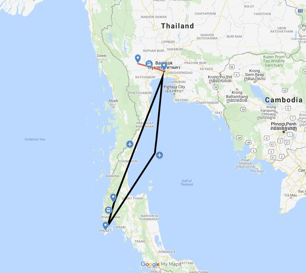 10 Day Thailand Itinerary Map